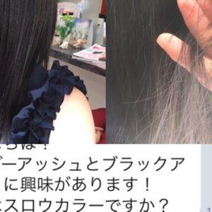 【黒染めは嫌だから暗めカラー】寒色系濃紺アッシュが美しい。